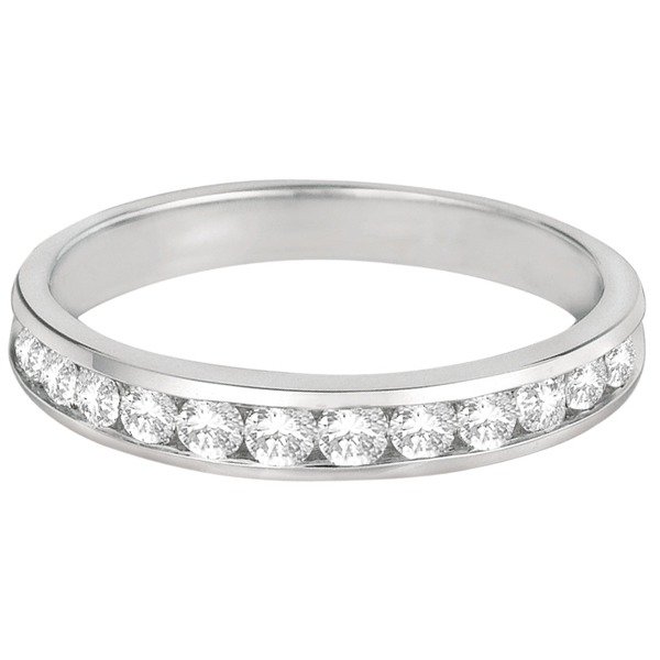 Channel-Set Diamond Anniversary Ring Band 14k White Gold (0.50ct)