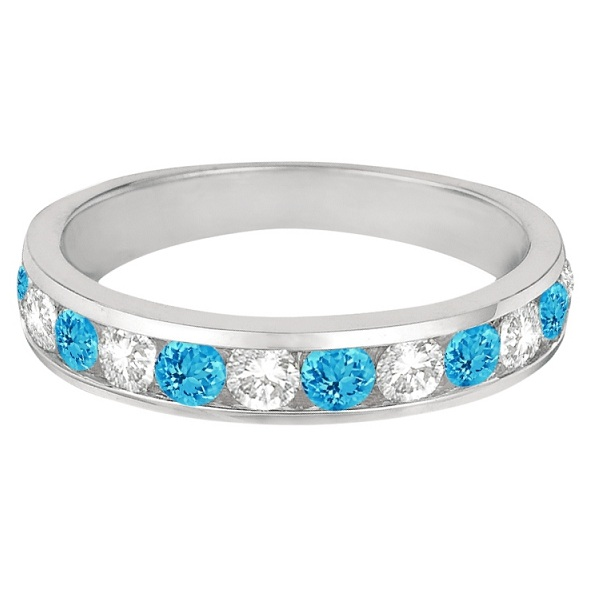 Channel-Set Blue Topaz & Diamond Ring Band 14k White Gold (1.20ct)