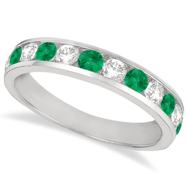 Channel-Set Emerald & Diamond Ring Band 14k White Gold (1.20ctw)