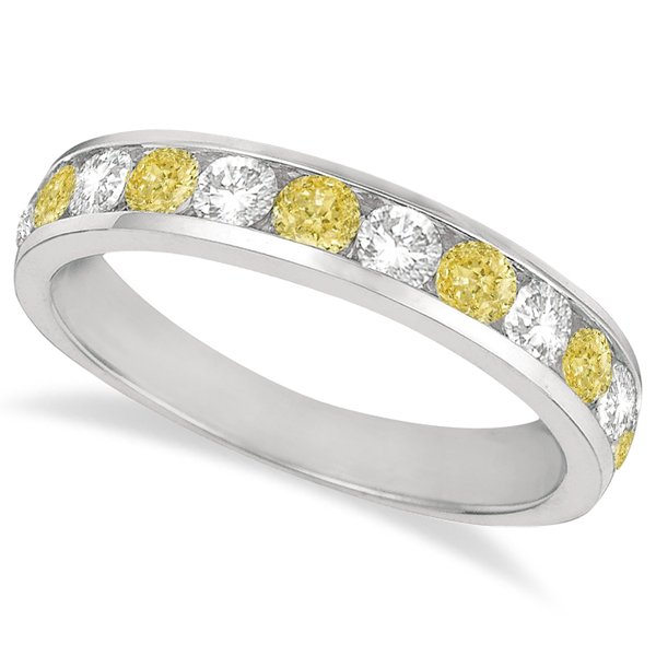 White & Yellow Canary Channel-Set Diamond Ring 14k White Gold (1.05ct)
