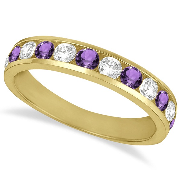 Channel-Set Amethyst & Diamond Ring Band 14k Yellow Gold (1.20ct)