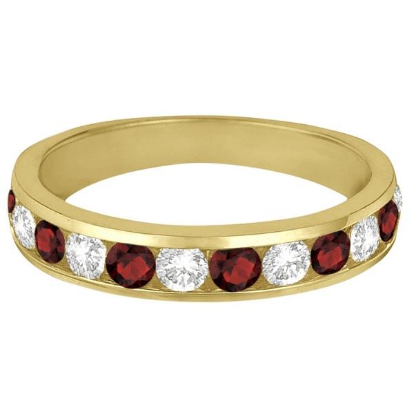 Channel-Set Garnet & Diamond Ring Band 14k Yellow Gold (1.20ct)