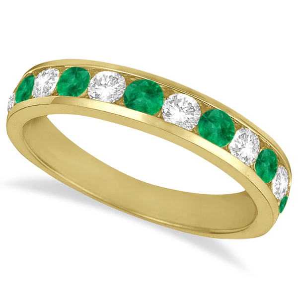 channel set emerald ring band 14k yellow gold 1 20ct