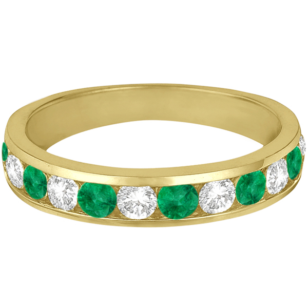 Channel-Set Emerald & Diamond Ring Band 14k Yellow Gold (1.20ctw)
