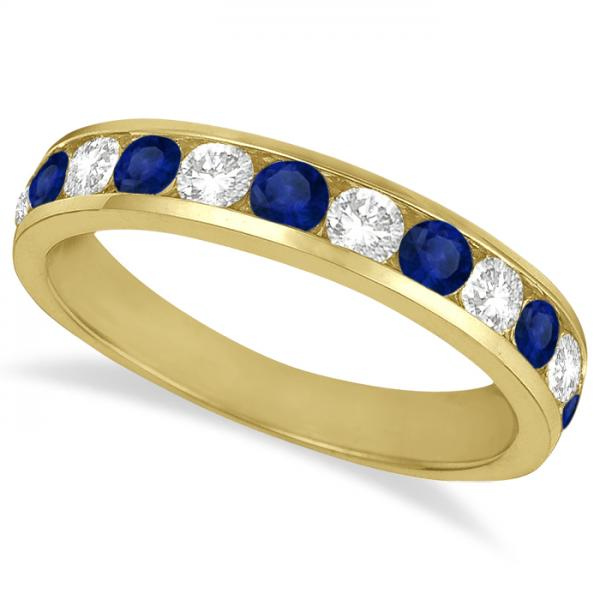 Channel-Set Sapphire & Diamond Ring Band 14k Yellow Gold (1.20ctw)