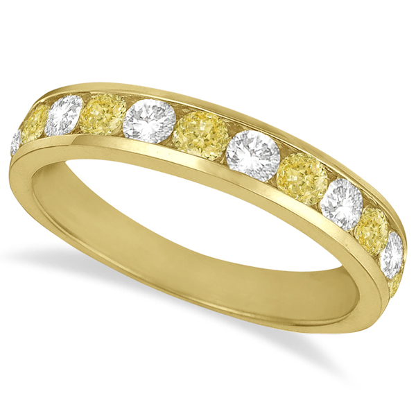 White & Yellow Diamond Channel-Set Ring 14k Yellow Gold (1.05ctw)