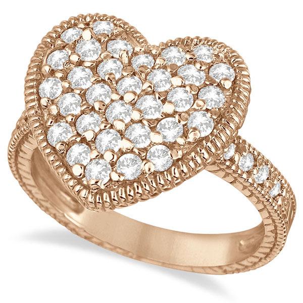 Puff Heart Diamond Ring 14k Rose Gold (1.00ct)