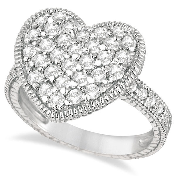Puff Heart Diamond Ring 14k White Gold (1.00ct)