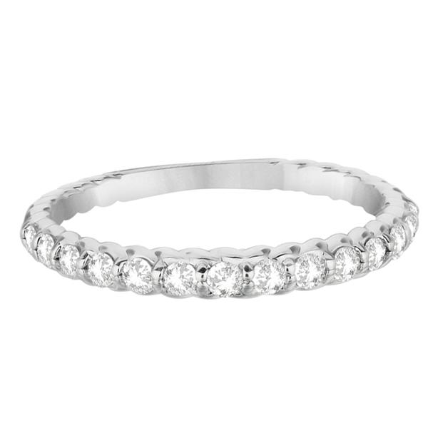 Half-Eternity Pave Diamond Anniversary Ring 14K White Gold (0.36ct)