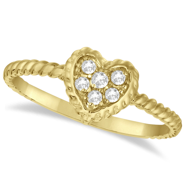 Pave Diamond Cluster Heart Shaped Ring 14K Yellow Gold (0.12ct)