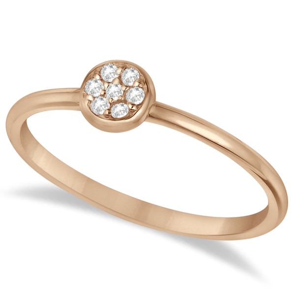 Pave Set Diamond Cluster Right Hand Ring 14K Rose Gold (0.06ct)