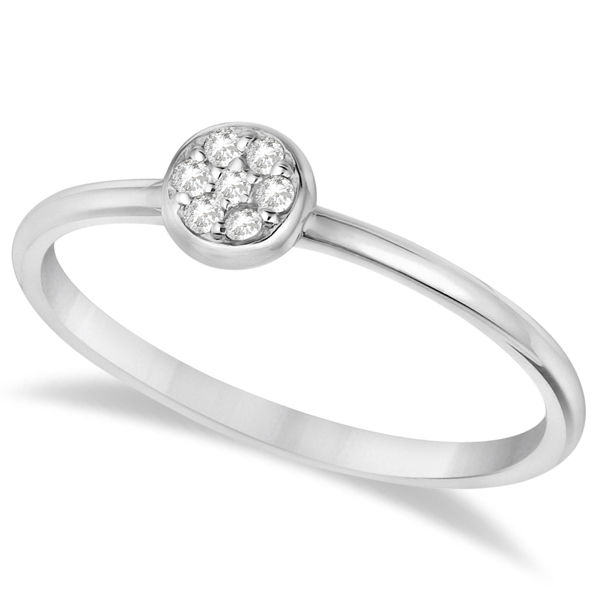 Pave Set Diamond Cluster Right Hand Ring 14K White Gold (0.06ct)