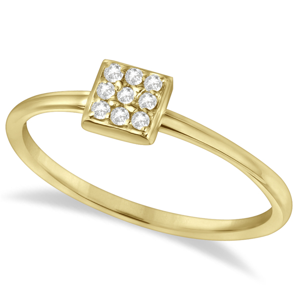 Pave Set Square Diamond Cluster Ring 14K Yellow Gold (0.08ct)