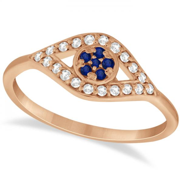 Evil Eye Diamond & Blue Sapphire Ring in 14k Rose Gold (0.22ct)