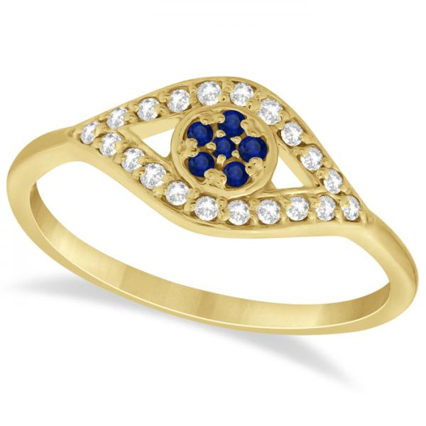 Evil Eye Diamond & Blue Sapphire Ring in 14k Yellow Gold (0.22ct)