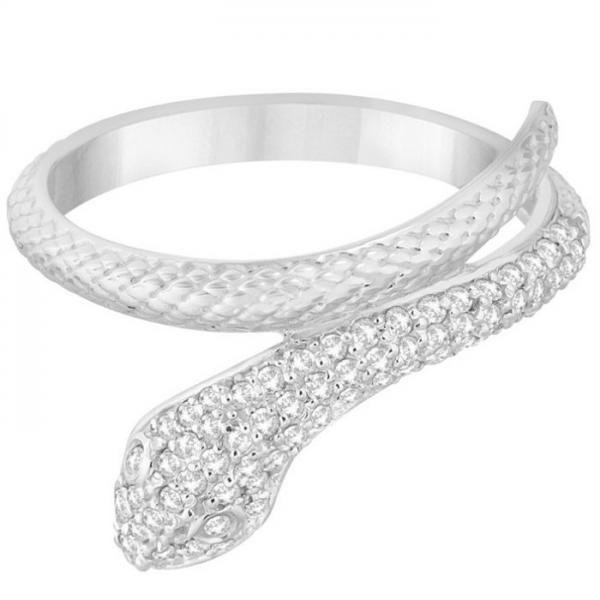 Modern Diamond-Studded Snake Ring Pave Set in 14k White Gold (0.35ct)