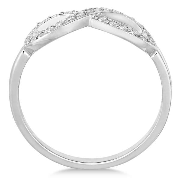 Pave Set Diamond Infinity Loop Ring in 14k White Gold (0.25 ct)
