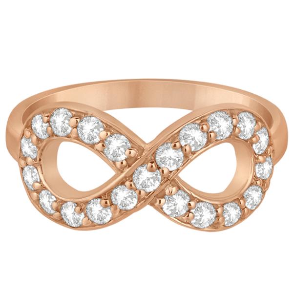 Pave Set Diamond Infinity Loop Ring in 14k Rose Gold (0.65 ct)