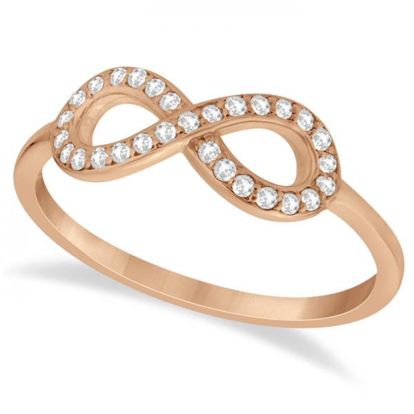 Twisted Diamond Infinity Ring Pave Set in 14k Rose Gold (0.15ct)