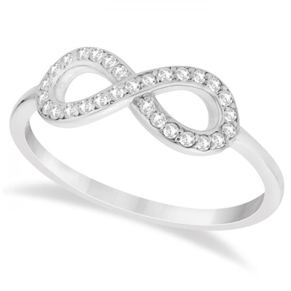 twisted diamond infinity ring pave set in 14k white gold