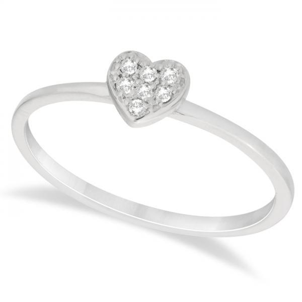 Heart Shaped Diamond Promise Ring in 14k White Gold (0.05ct)