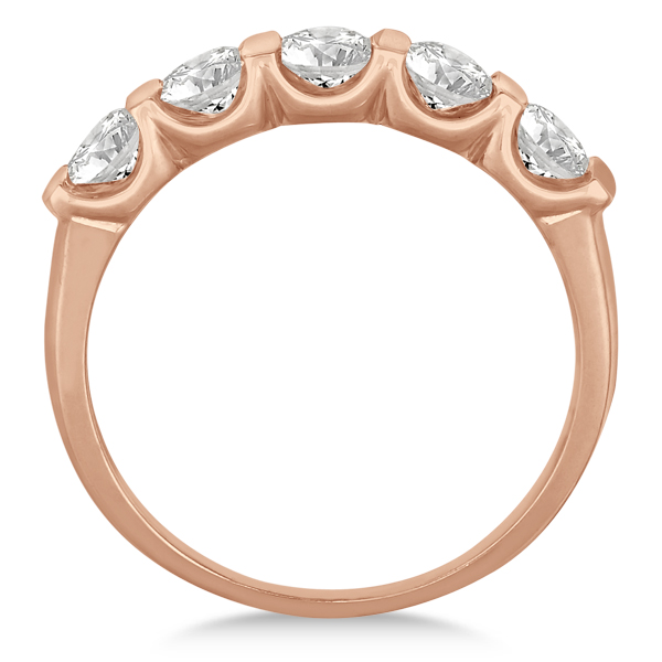 Bar-Set Five Stone Diamond Ring Anniversary Band 14k Rose Gold 1.00ct