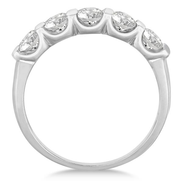 Bar-Set Five Stone Diamond Ring Anniversary Band 14k White Gold 1.00ct