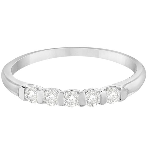 Bar-Set Five Stone Diamond Ring Anniversary Band 14k White Gold 0.25ct