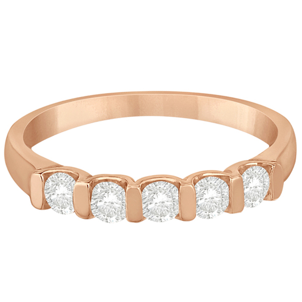 Bar-Set Five Stone Diamond Ring Anniversary Band 14k Rose Gold 0.50ct