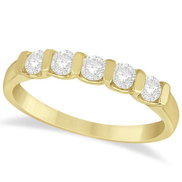 Bar-Set 5 Stone Diamond Ring Anniversary Band 14k Yellow Gold 0.50ct