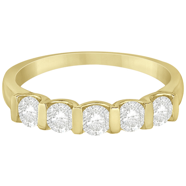 Bar-Set 5 Stone Diamond Ring Anniversary Band 14k Yellow Gold 0.75ct