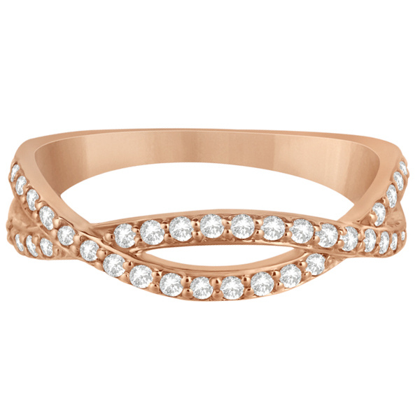 Pave Set Diamond Twisted Infinity Band in 14k Rose Gold (0.32 carat)