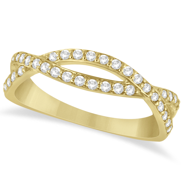 Pave Set Diamond Twisted Infinity Band in 14k Yellow Gold (0.32 carat)