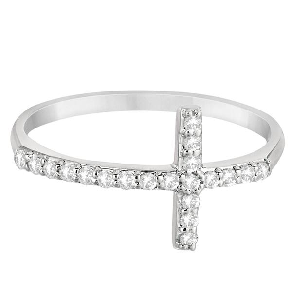 Modern Sideways Diamond Cross Fashion Ring in 14k White Gold (0.20ct)