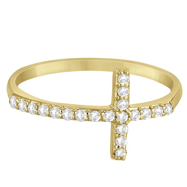 Modern Sideways Diamond Cross Fashion Ring in 14k Yellow Gold (0.20ct)