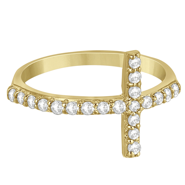 Modern Sideways Diamond Cross Fashion Ring in 14k Yellow Gold (0.42ct)