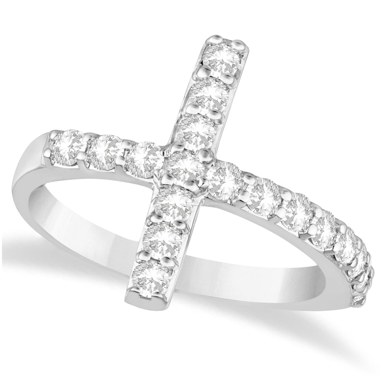 Modern Sideways Diamond Cross Fashion Ring 14k White Gold (0.75ct)