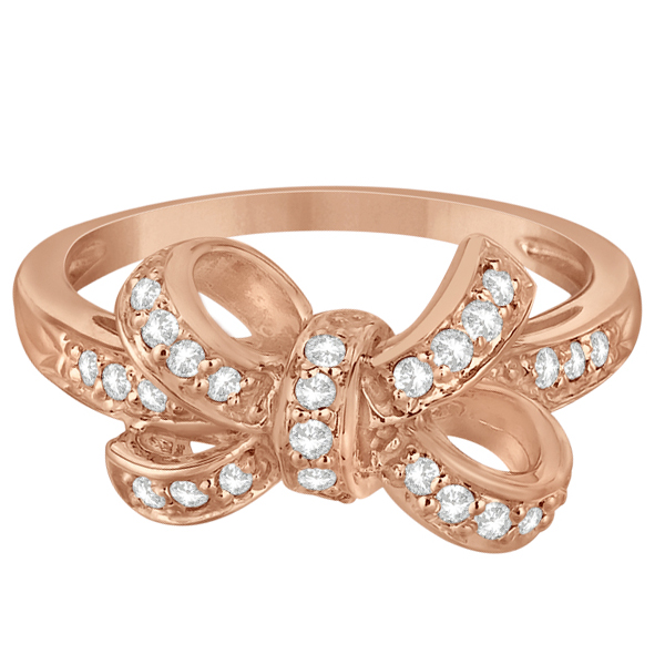 Pave Set Diamond Bow Tie Fashion Ring in 14k Rose Gold (0.26 ct)