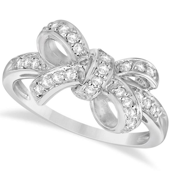 Pave Set Diamond Bow Tie Fashion Ring in 14k White Gold (0.26 ct)