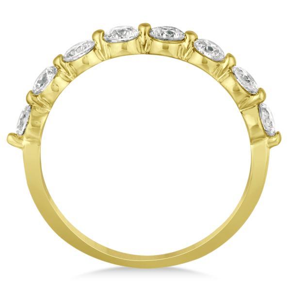 Shared Prong, Round Diamond Anniversary Ring 14k Yellow Gold 1.00ct