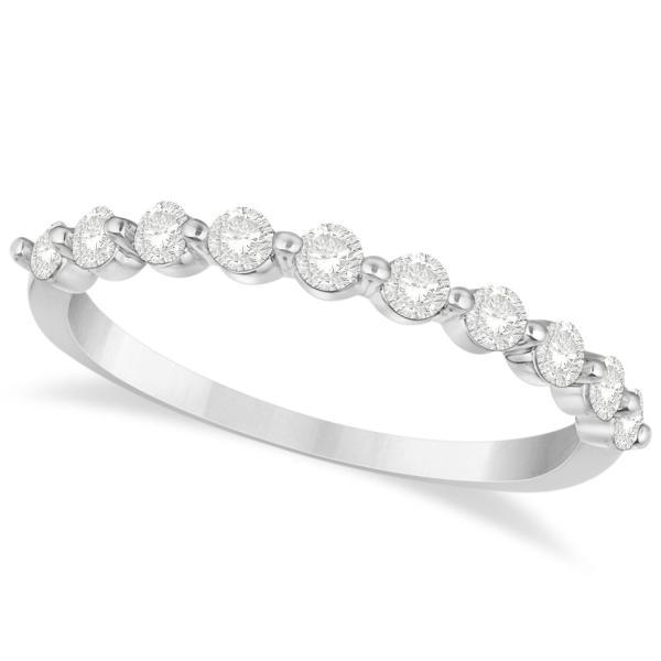 Shared Prong, Round Diamond Anniversary Ring 14k White Gold 0.40ct