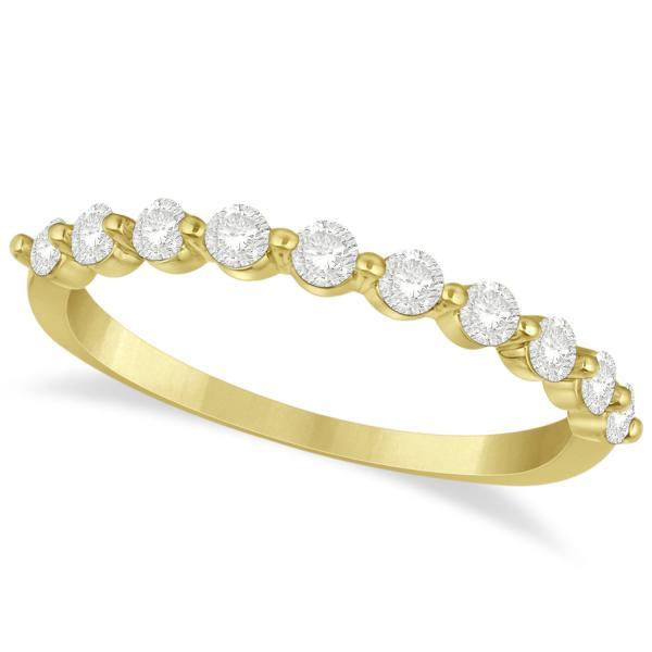 Shared Prong, Round Diamond Anniversary Ring 14k Yellow Gold 0.40ct