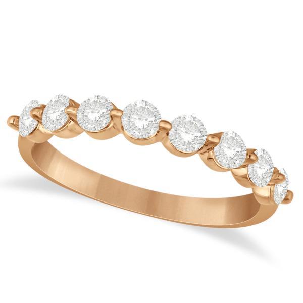 Shared Prong Round Shape Diamond Anniversary Ring 14k Rose Gold 0.75ct