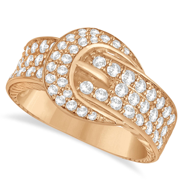 Diamond Belt Buckle Ring 14k Rose Gold (1.01ct)