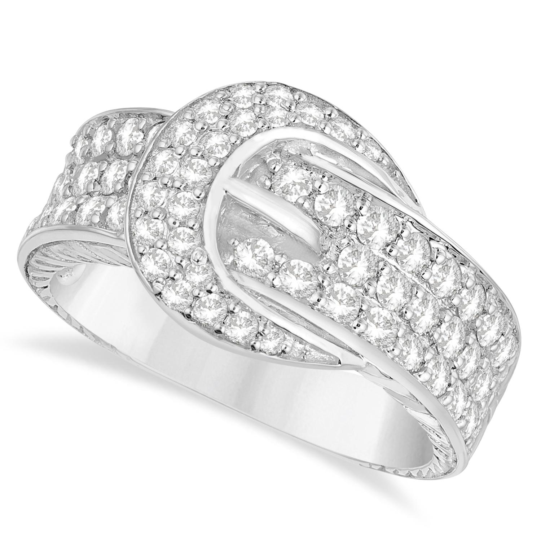 Diamond Belt Buckle Ring 14k White Gold (1.01ct)