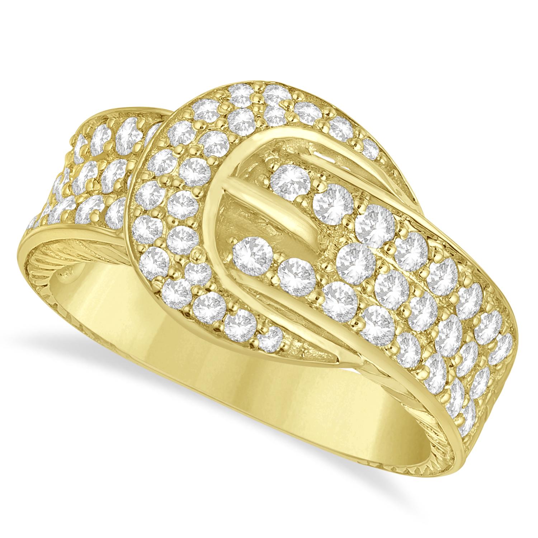 Diamond Belt Buckle Ring 14k Yellow Gold (1.01ct)