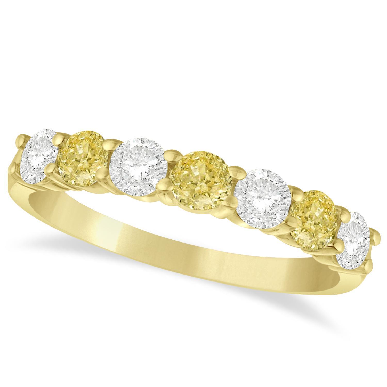 White Amp Yellow Diamond 7 Stone Wedding Band 14k Yellow Gold 100ct