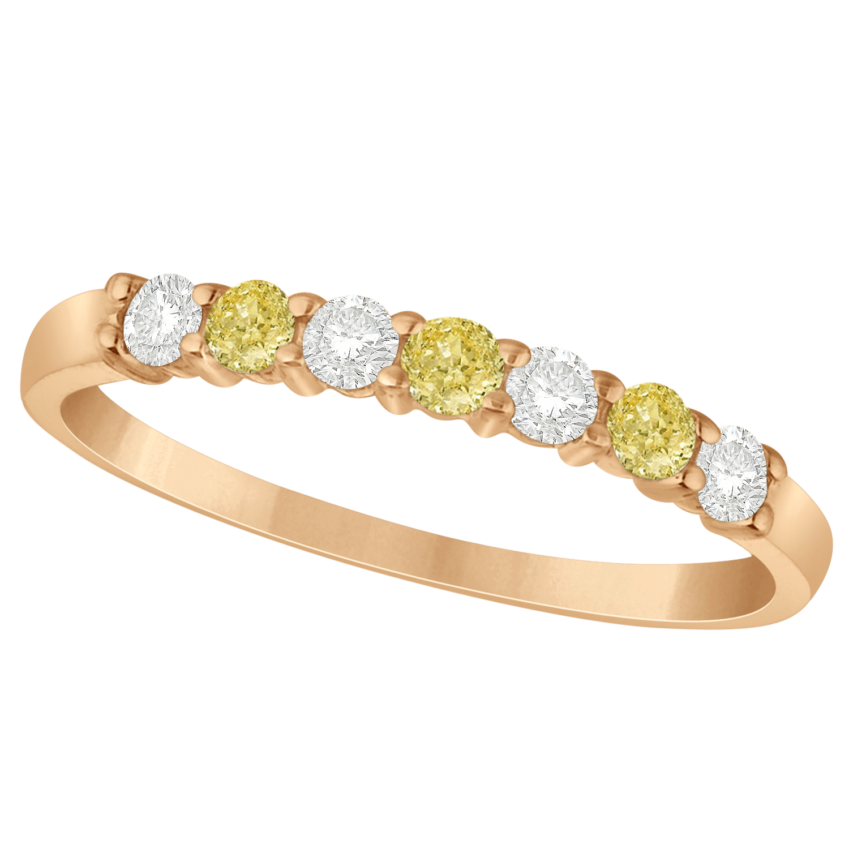 White Amp Yellow Diamond 7 Stone Wedding Band 14k Rose Gold 034ct