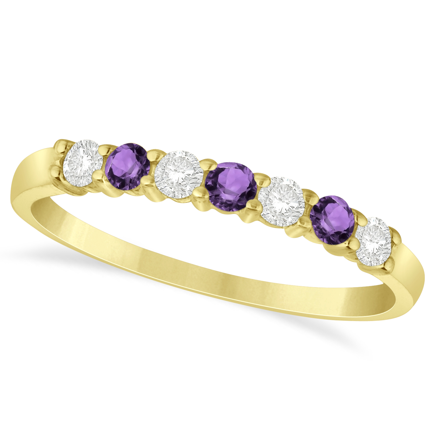 Diamond Amethyst 7 Stone Wedding Band 14k Yellow Gold 034ct