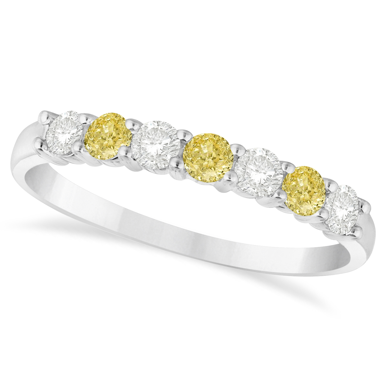 White Amp Yellow Diamond 7 Stone Wedding Band 14k White Gold 050ct